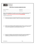 Employee Of The Month Nomination Form - Florida Free Download