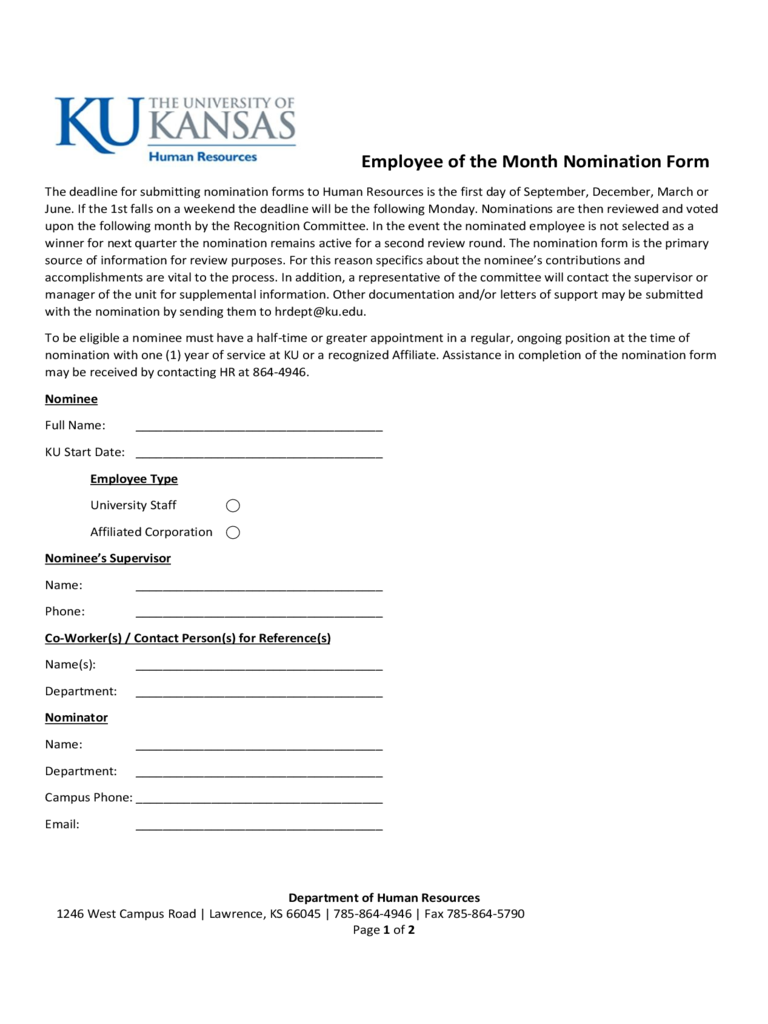 Employee Of The Month Nomination Form - Kansas