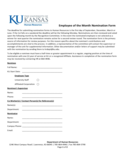 Employee Of The Month Nomination Form - Kansas Free Download