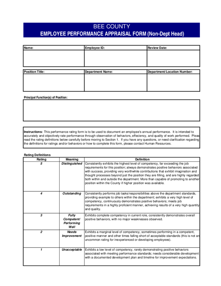 Employee performance evaluation form texas free download for Evaluation templates for employees