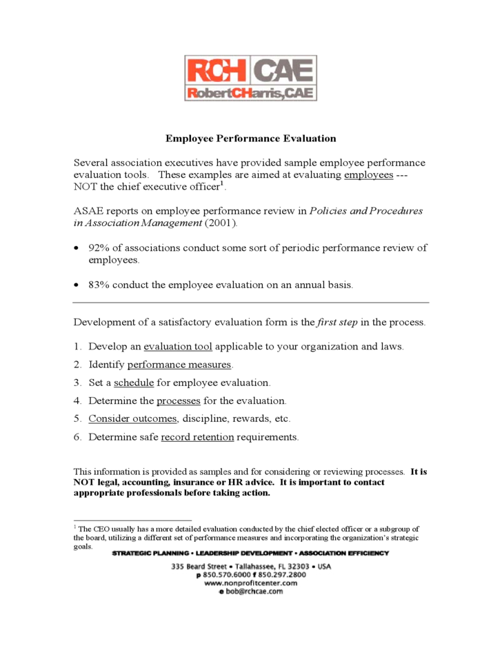 1 Employee Evaluation Form Sample  Employee Review Form Free Download
