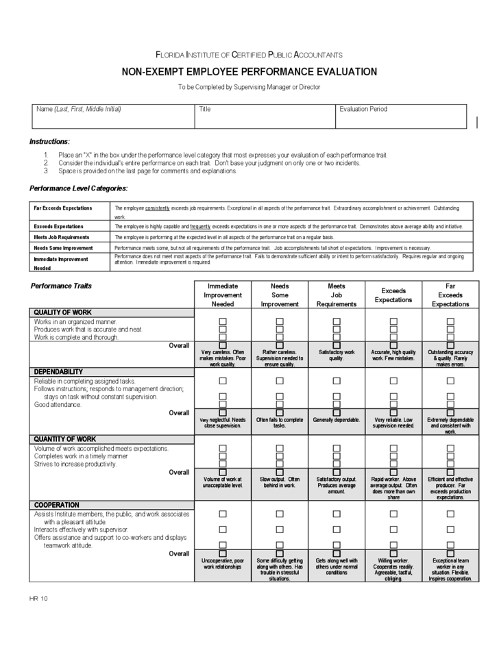 free employee evaluation form template