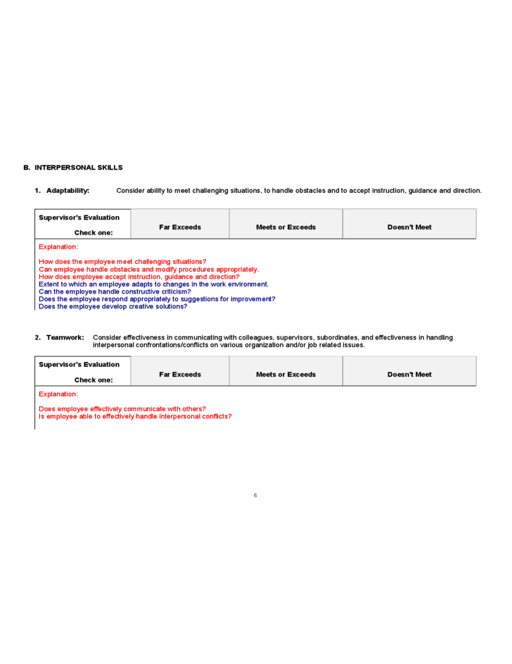 sample of employee evaluation form