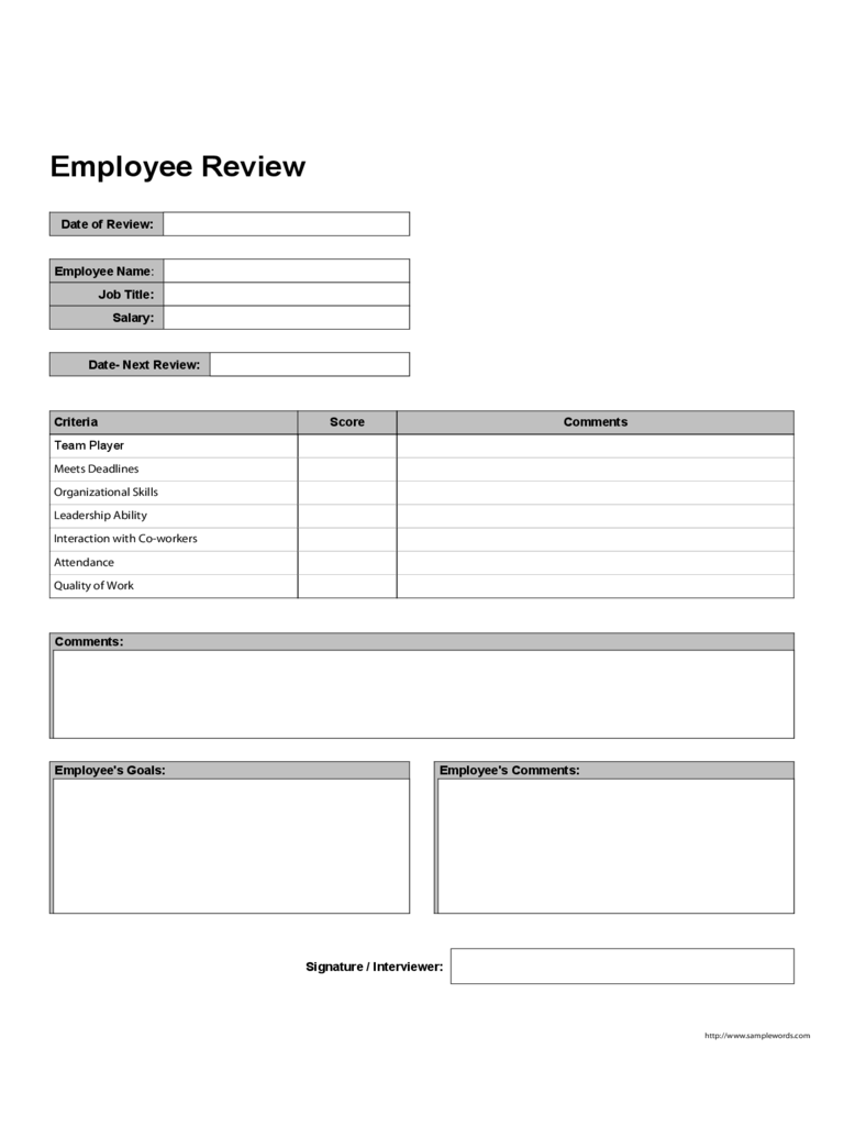 Employee Performance Review Form 5 Free Templates in PDF Word – Employee Review Form Free Download