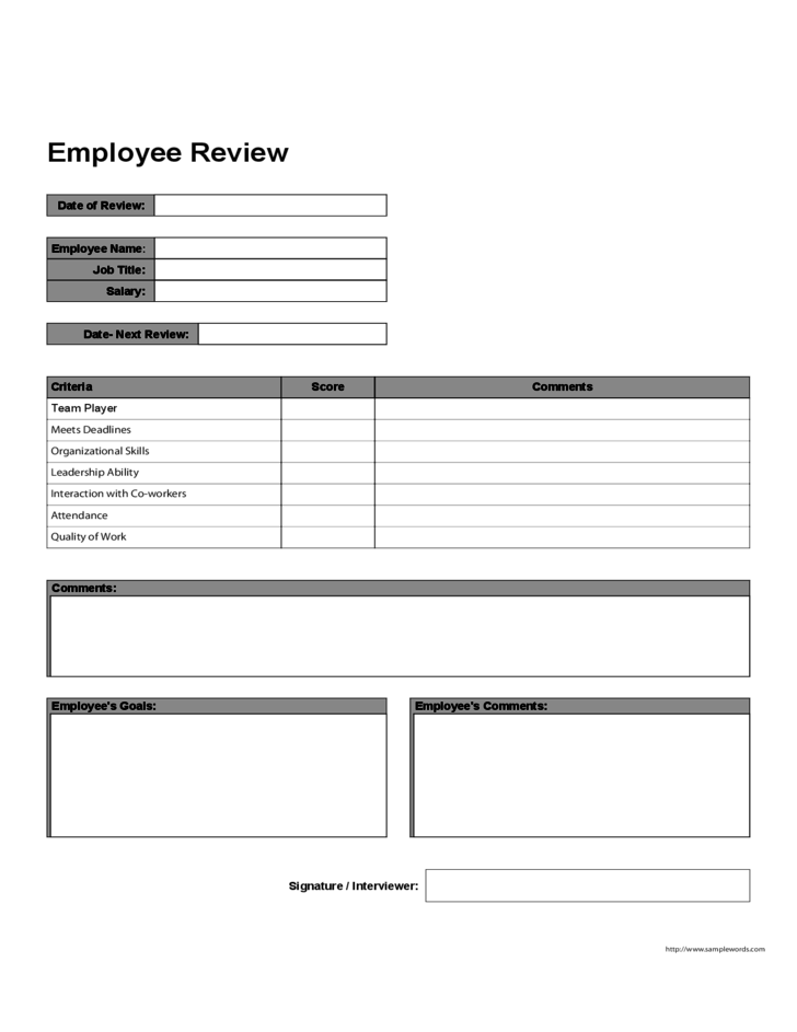 employee review form template free download