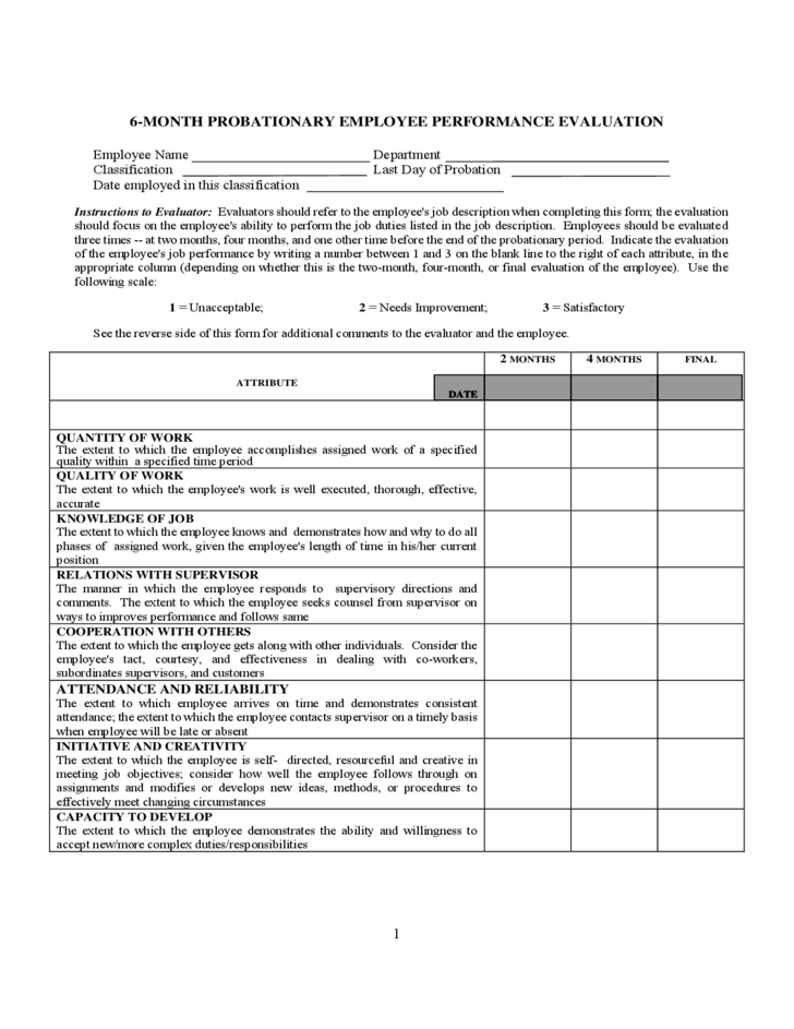 probationary employee performance evaluation form free download. Black Bedroom Furniture Sets. Home Design Ideas