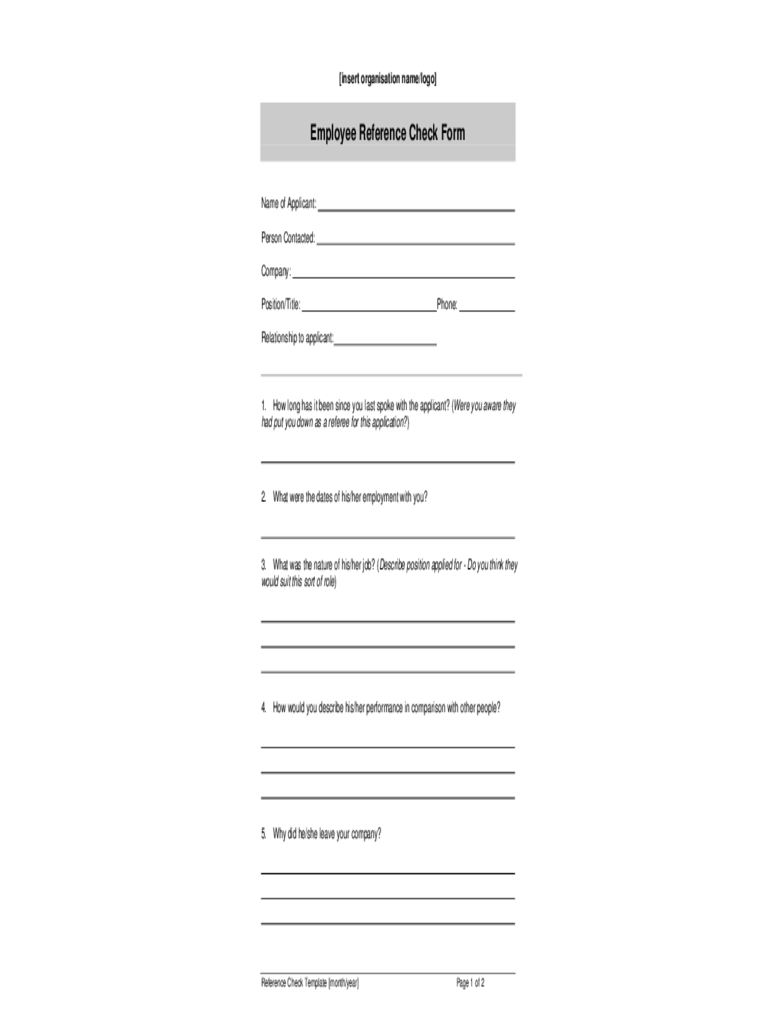 blank employee reference check form