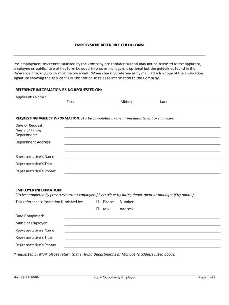 Employee reference check form 3 free templates in pdf for Employment reference check form template