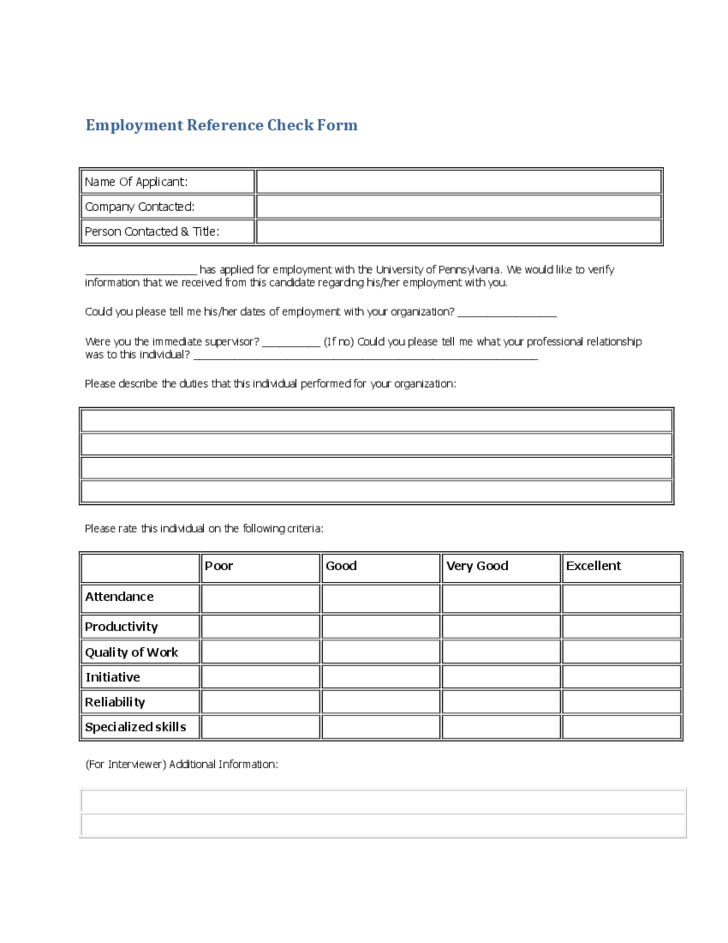 Generic Employee Reference Check Form Free  Employment Reference Form Template
