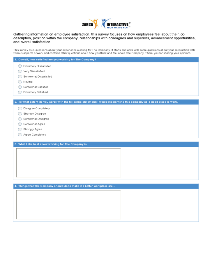 Blank employee satisfaction form free download