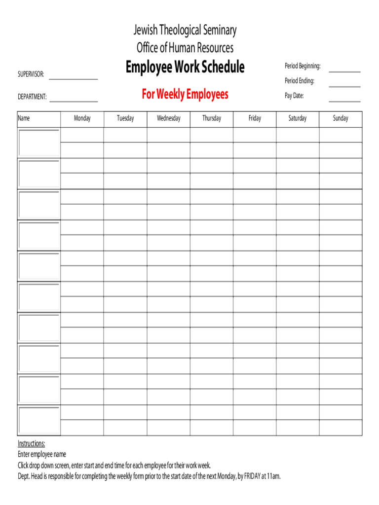 Employee schedule template 5 free templates in pdf word excel jewish theological seminary employee work schedule alramifo Image collections