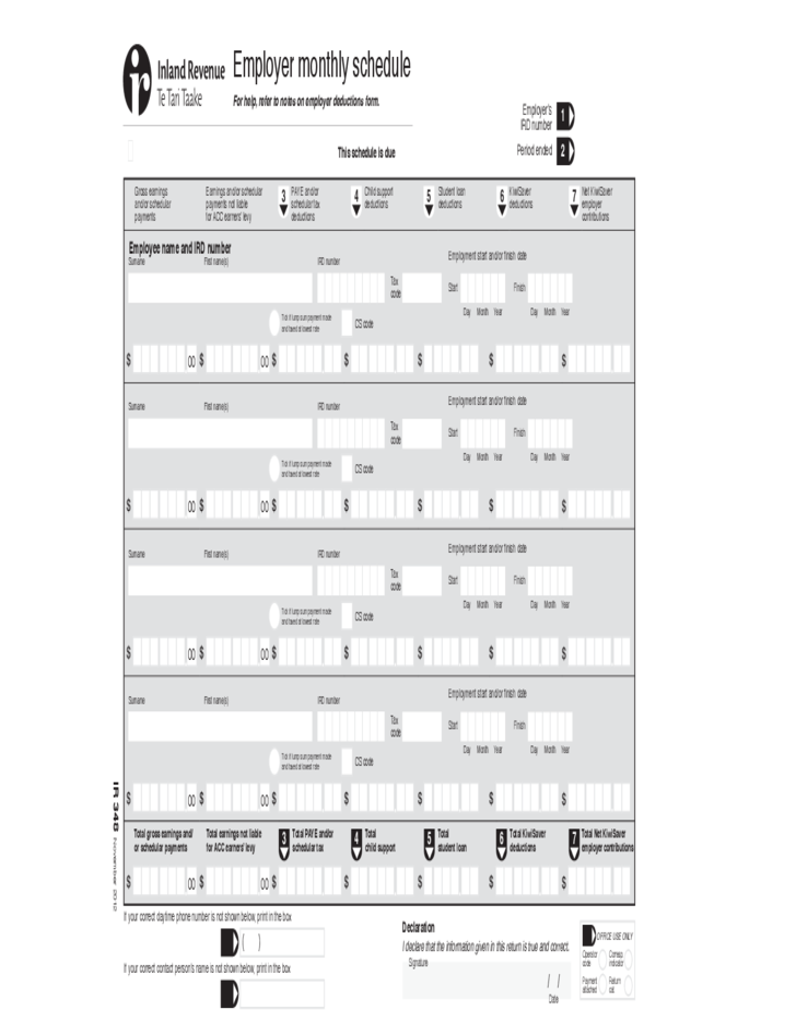 Employer Monthly Schedule Free Download