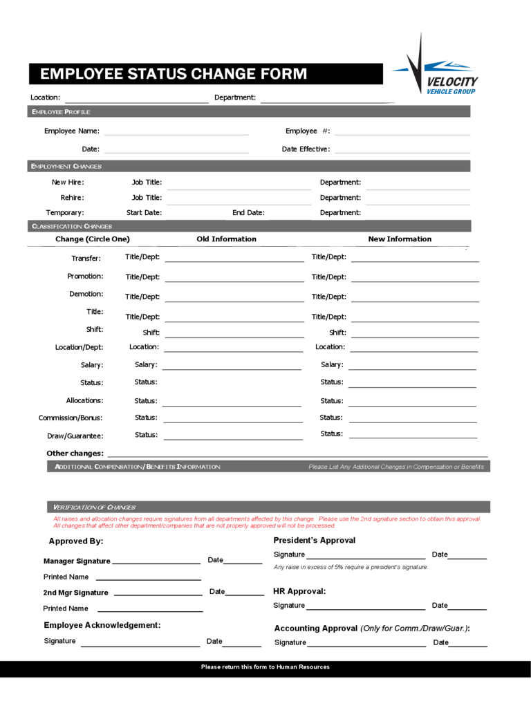 Blank Employee Status Change Form  Employee Forms Templates