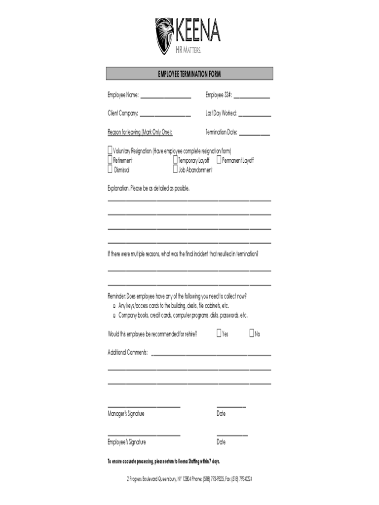 image about Printable Employee Termination Form referred to as Worker Termination Style - 2 Free of charge Templates inside of PDF, Term