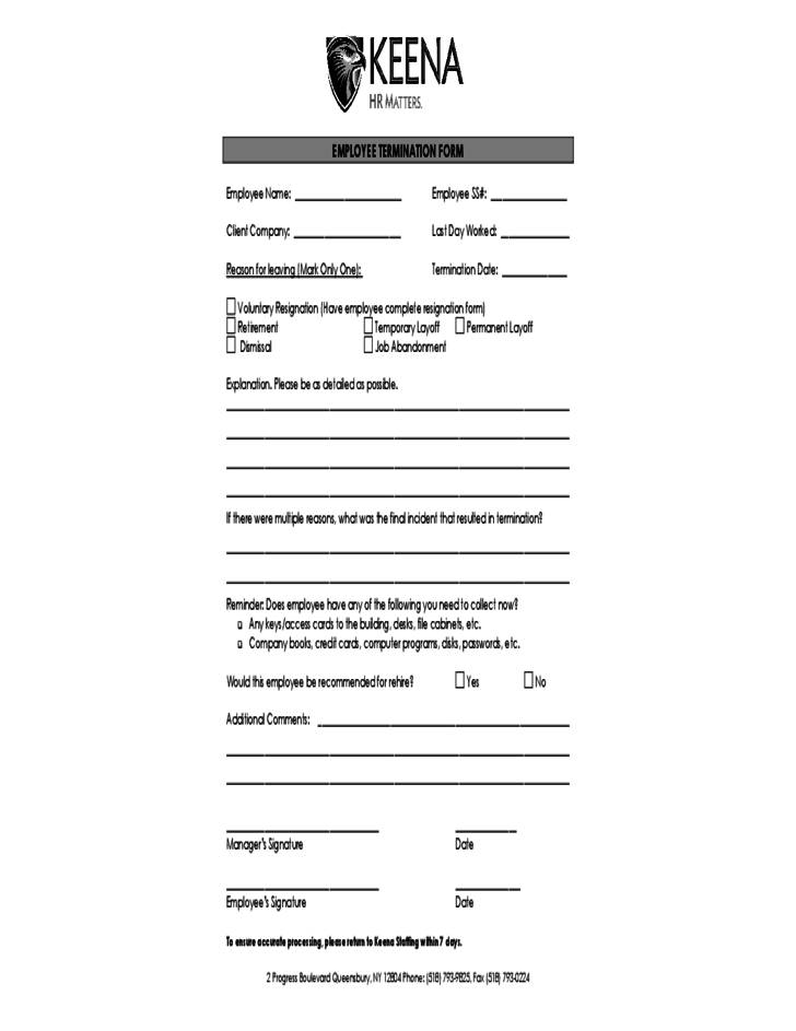 Blank Employee Termination Form Free Download – Employee Termination Form