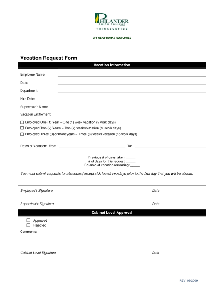 Employee Vacation Request Form Arkansas Free Download – Vacation Request Form