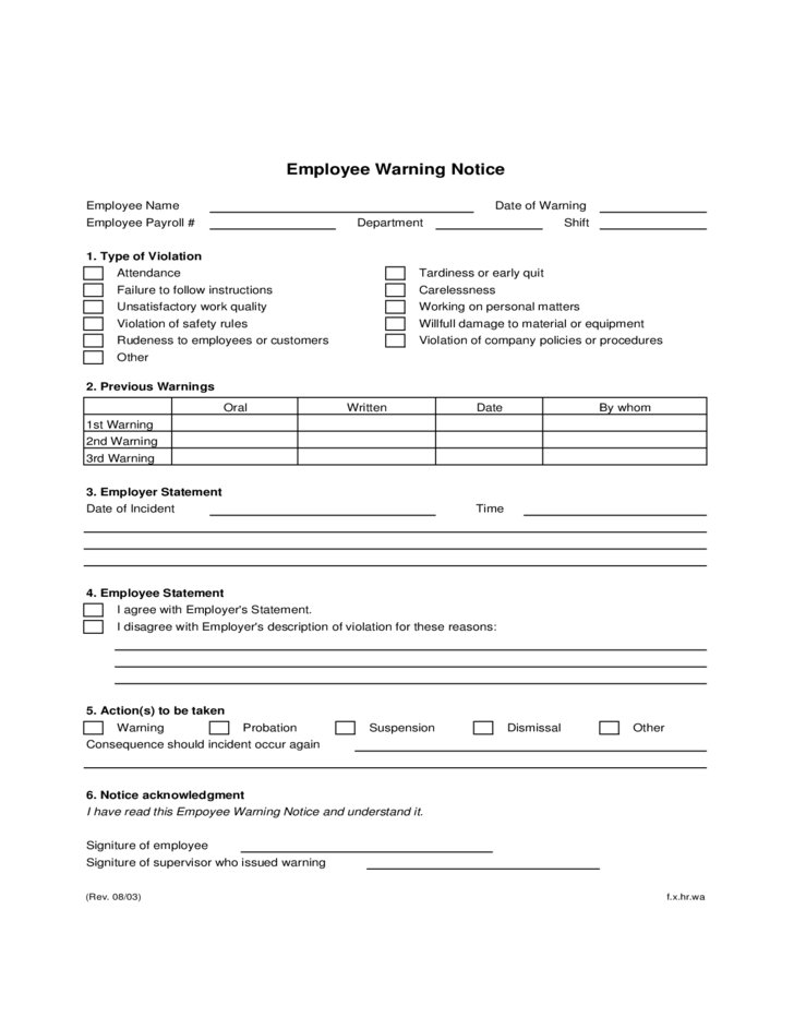 warning form for employees