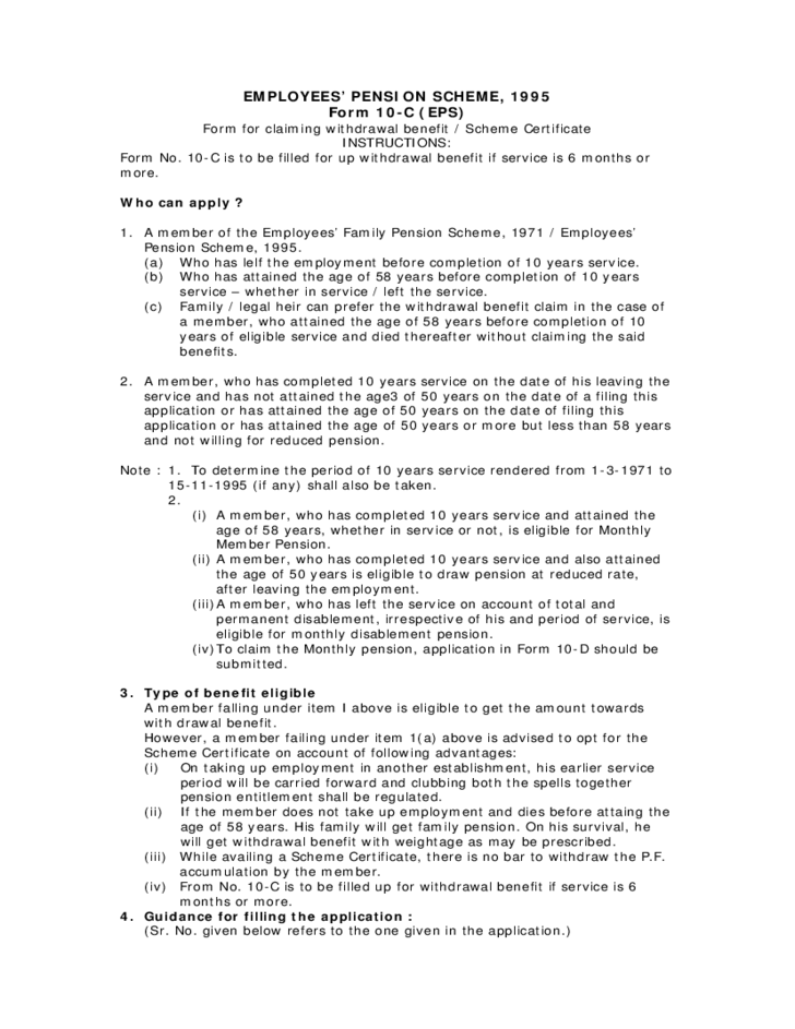 Employees Pension Scheme 1995 Form Sample