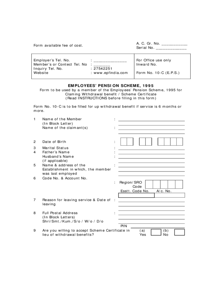 Employee Peion | Employees Pension Scheme 1995 Form Sample Free Download