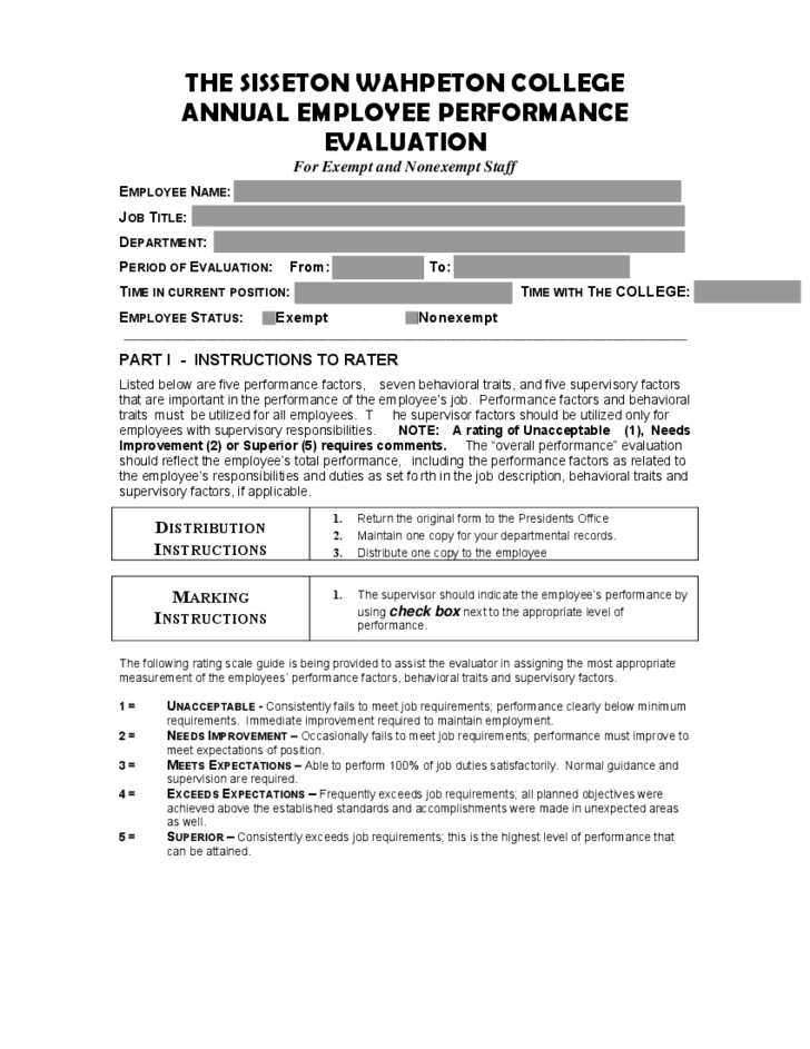 Employee Performance Evaluation Form Free Download Performance – Free Printable Employee Evaluation Form