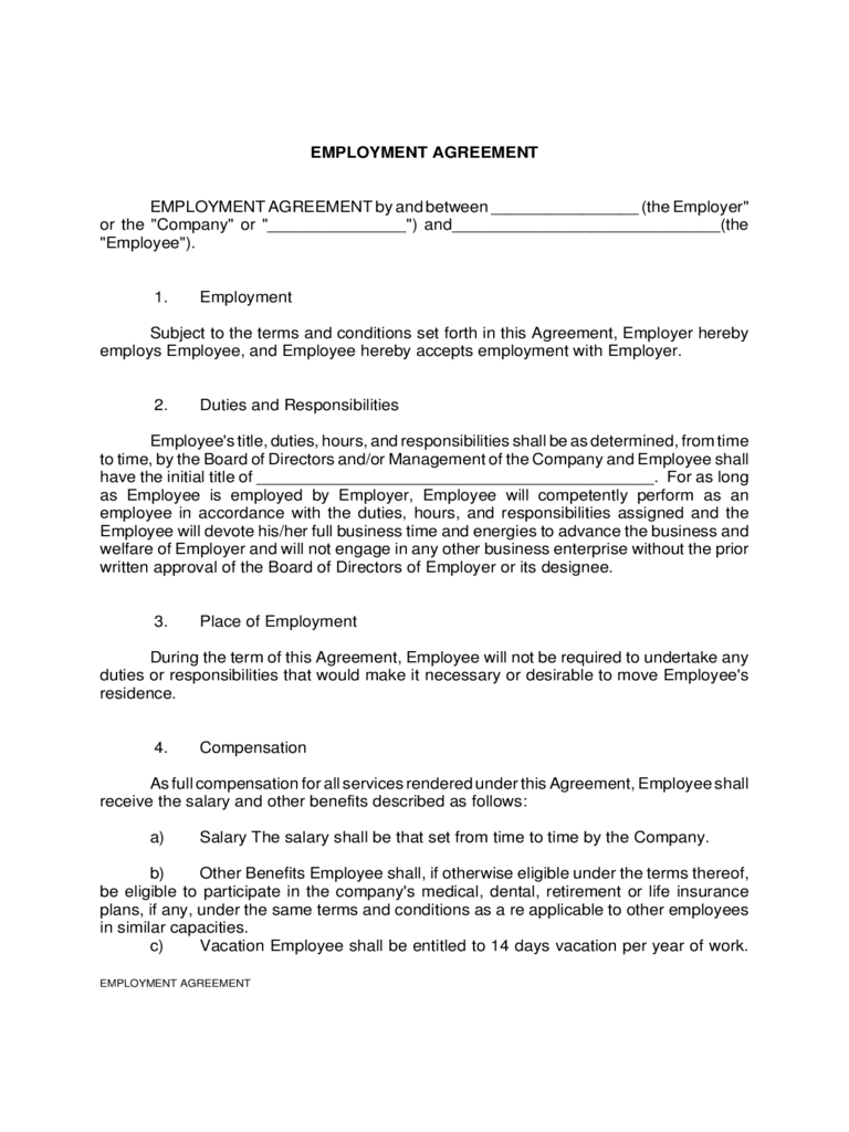 Employment Agreement Form - 8 Free Templates in PDF, Word, Excel ...