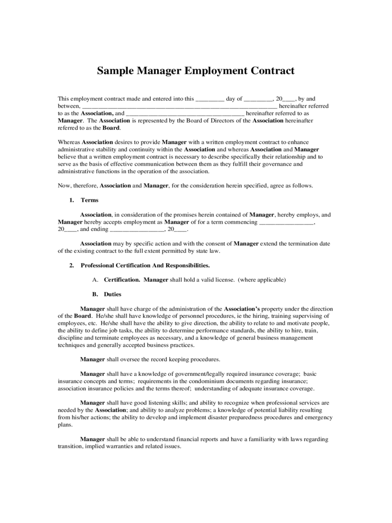 Sample Manager Employment Contract