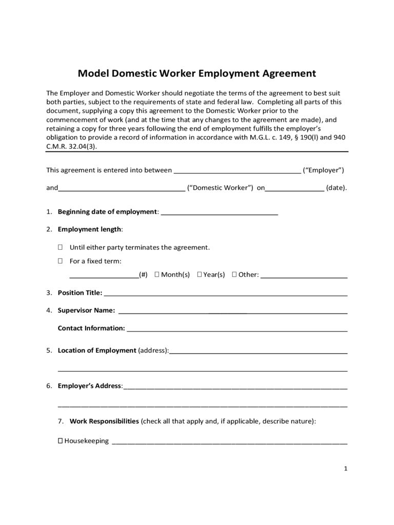 Model Domestic Worker Employment Agreement