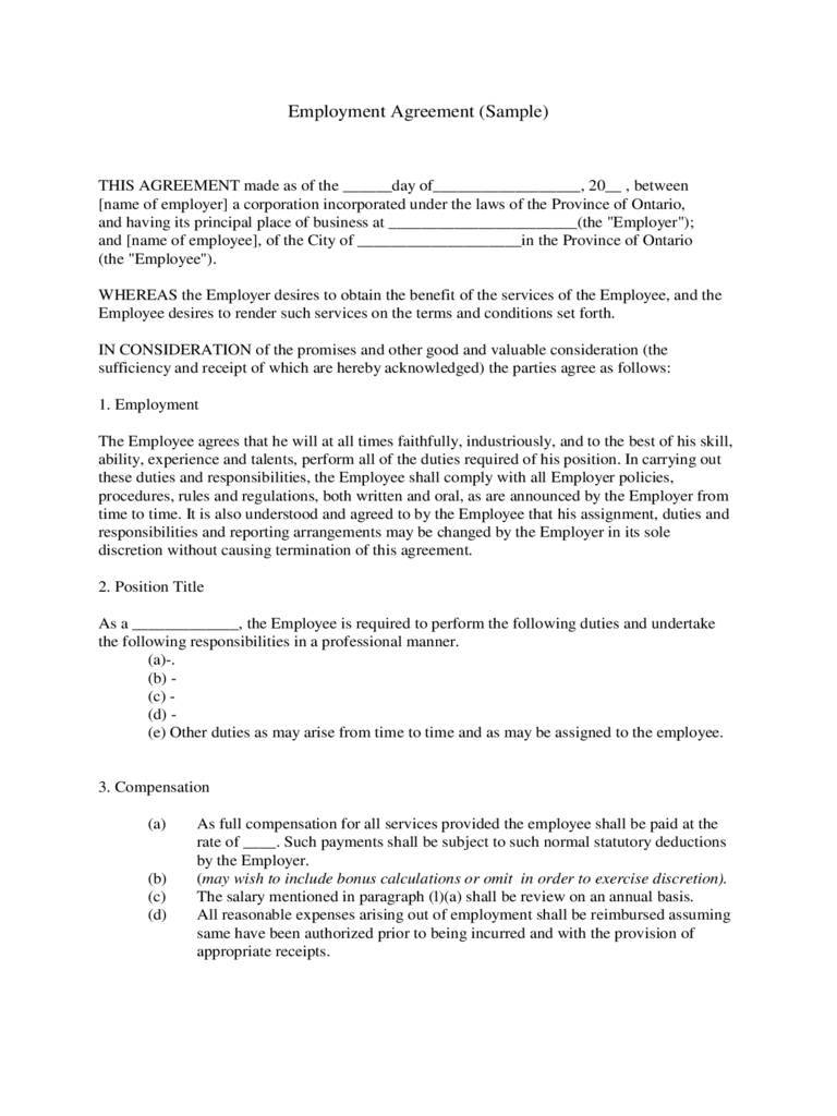 Employment Contract Form Free Templates In PDF Word Excel Download - Contract form template