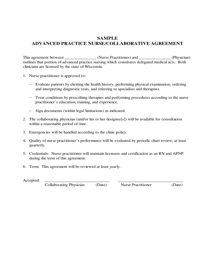 Employee contract form wisconsin free download for Nurse practitioner contract template