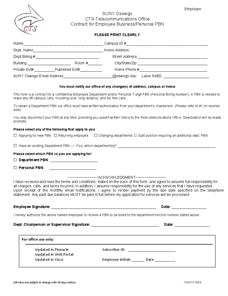 1 Employee Contract Form   State University Of New York At Oswego  Free Employment Contract Form