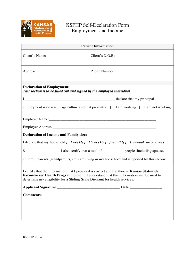 Employment Declaration Form 2 Free Templates In Pdf