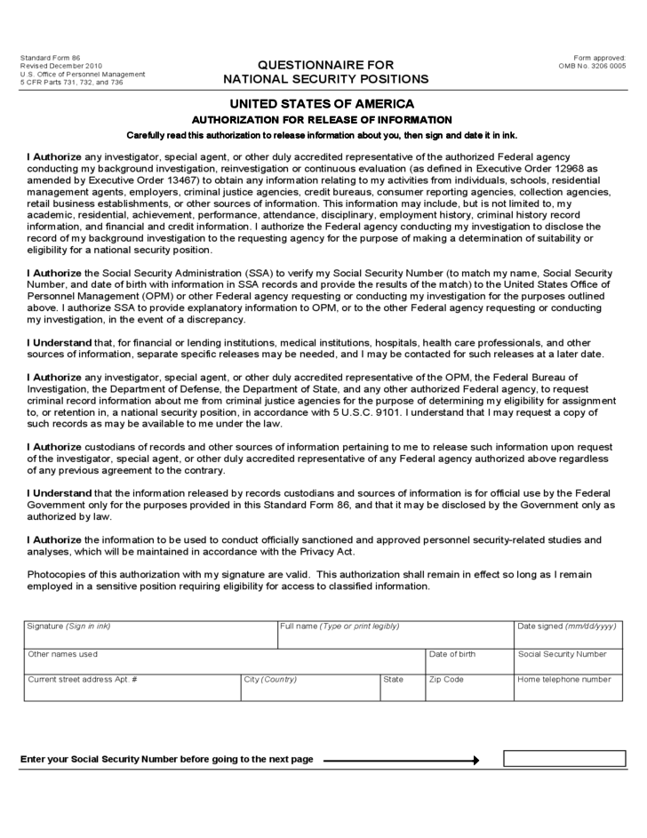Security Clearance Forms United States Free Download