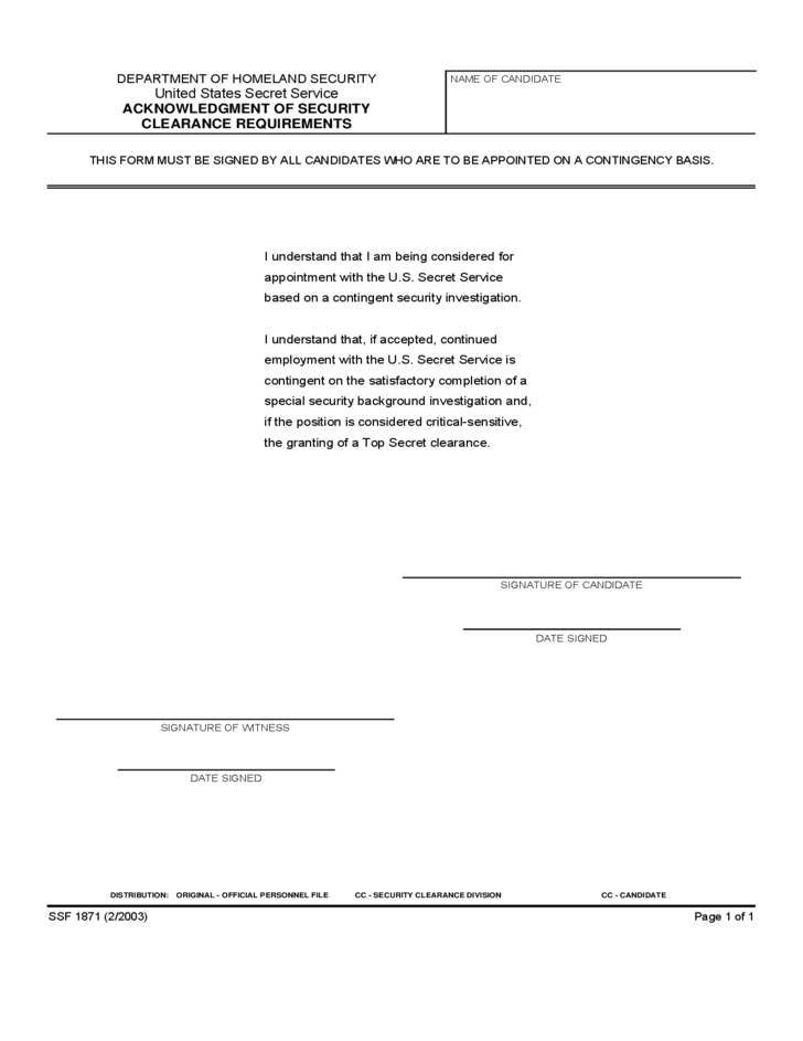 Security Clearance Forms - United States Free Download