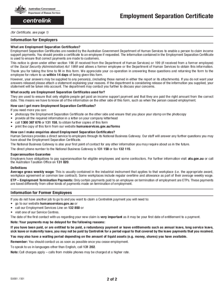 employment separation certificate template - employment separation certificate australia free download