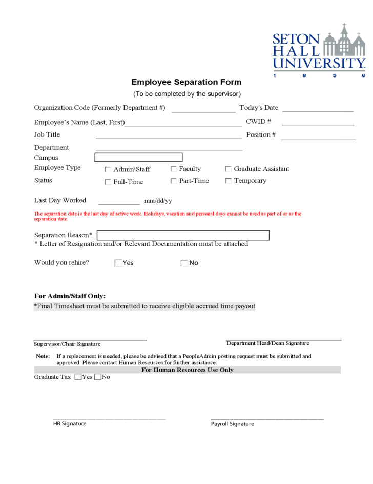 Employee Separation Form New Jersey Free Download