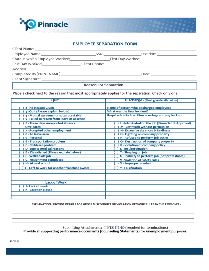 noncomplete employee separation form free download