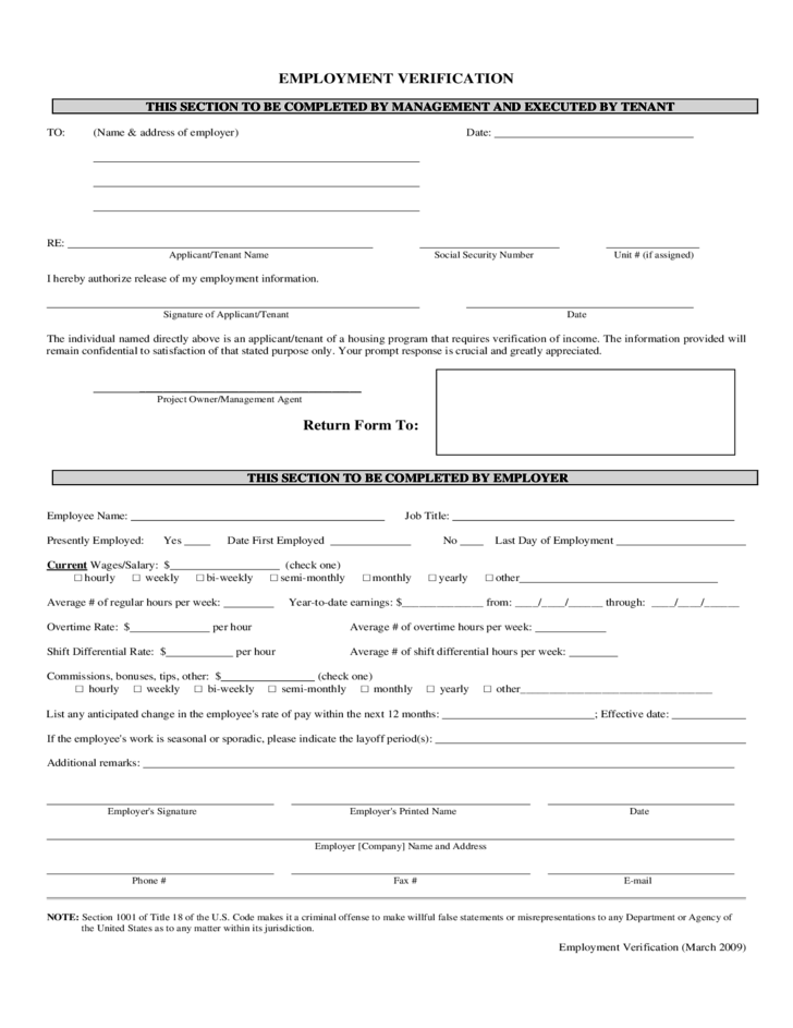 Doc Sample Employment Verification Form Employment – Sample Employment Verification Form