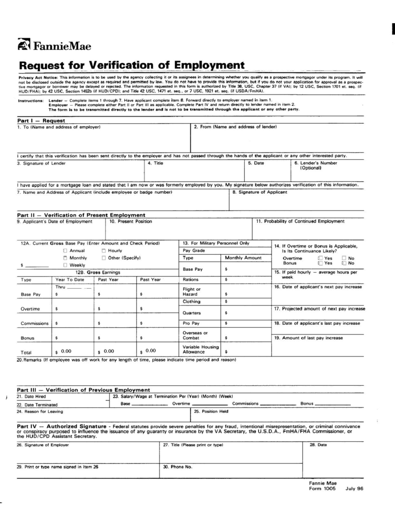 Employment Verification Form 4 Free Templates in PDF Word – Employment Verification Request Form Template