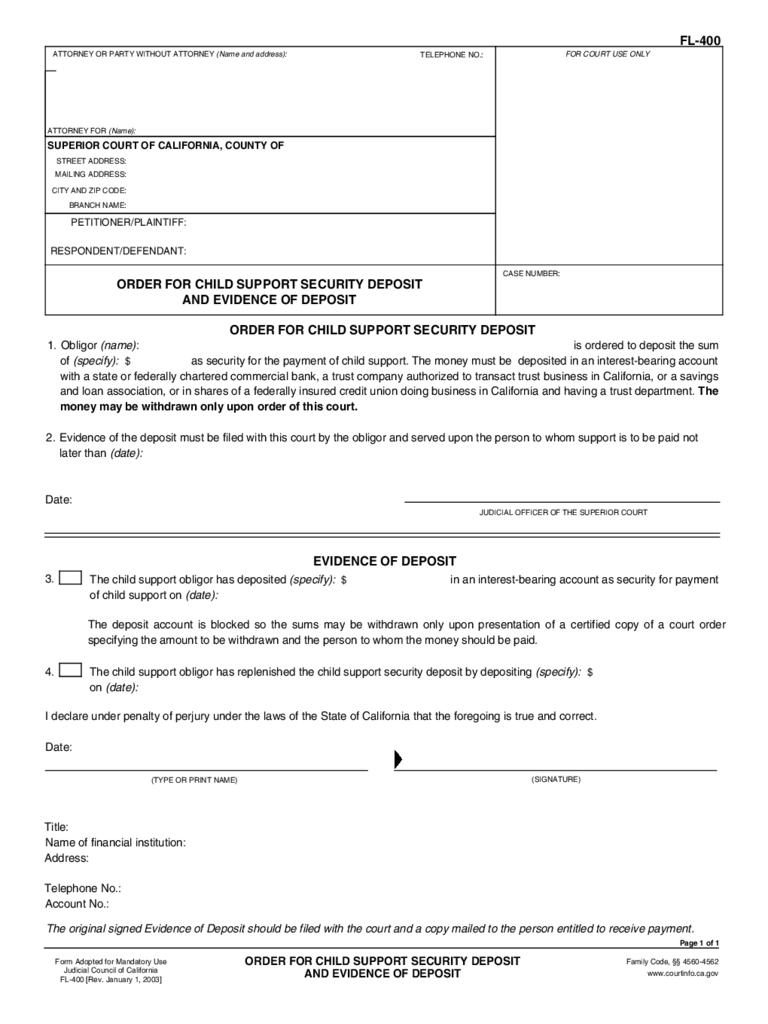 FL-400 Order for Child Support Security Deposit and Evidence of Deposit