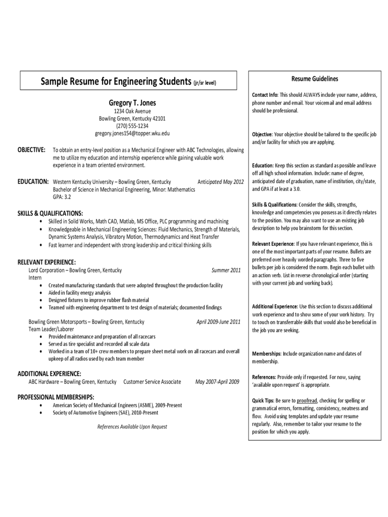 Sample Resume for Engineering Students (jr/sr leve)