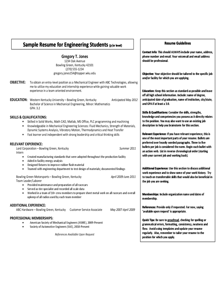 sample resume for engineering students jr sr leve free