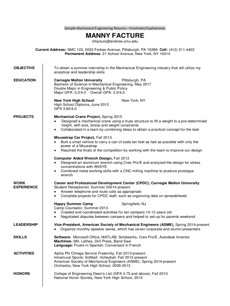 Sample Mechanical Engineering Resume - Freshmen/Sophomores