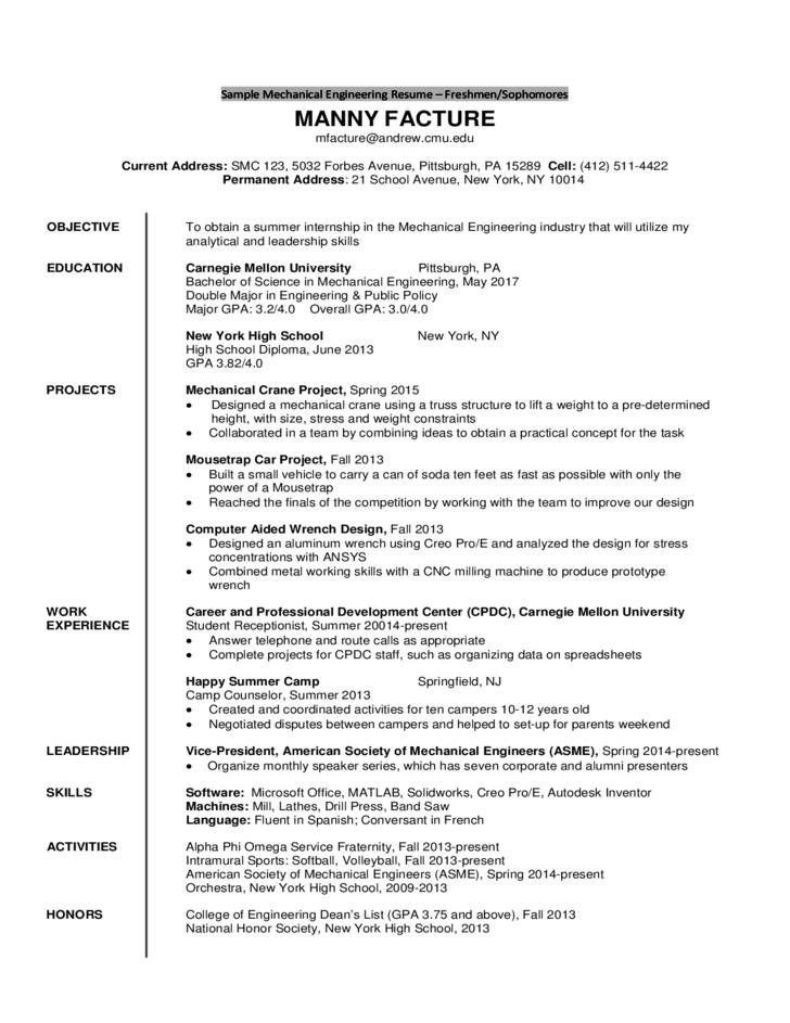 Mechanical Engineering Resume Example Engineering The O Jays  Resume Example Engineer