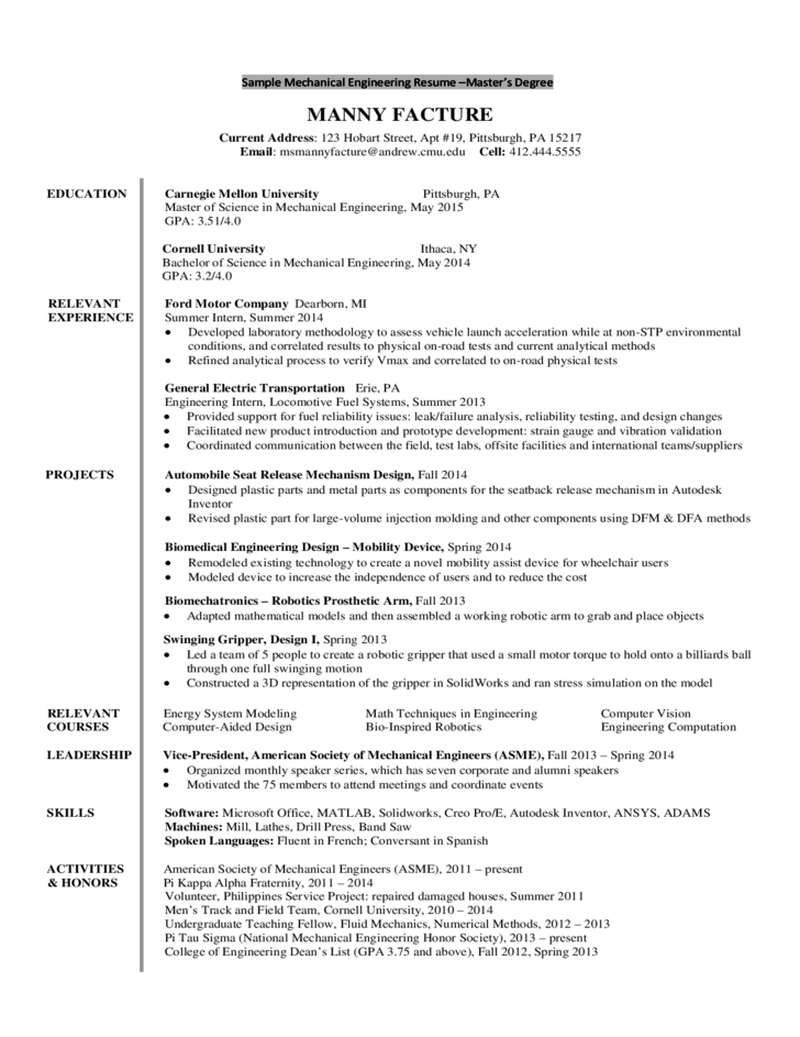 Sample Mechanical Engineering Resume - Freshmen/Sophomores Free Download