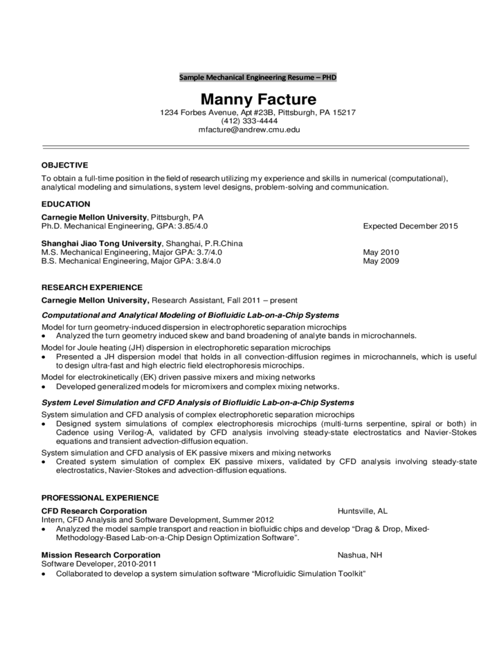 Sample Mechanical Engineering Resume Freshmen Sophomores