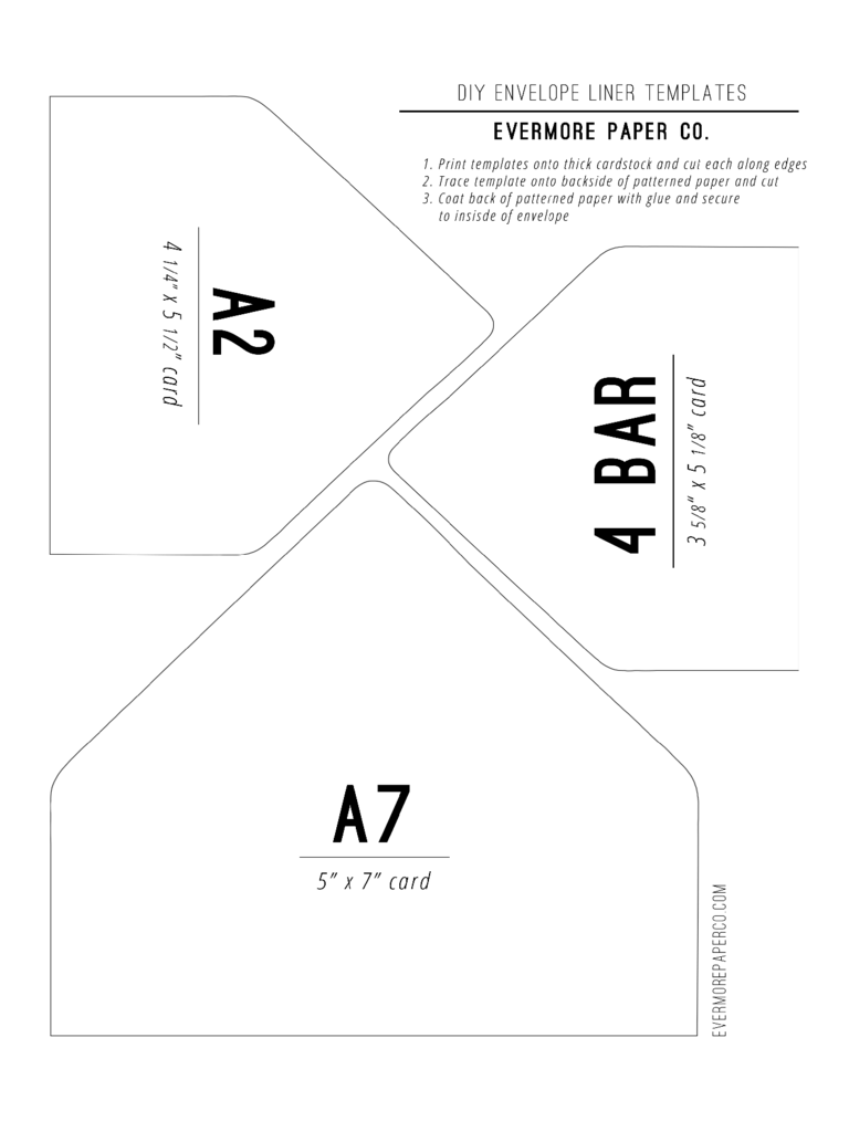 Sample Envelope Liner Template