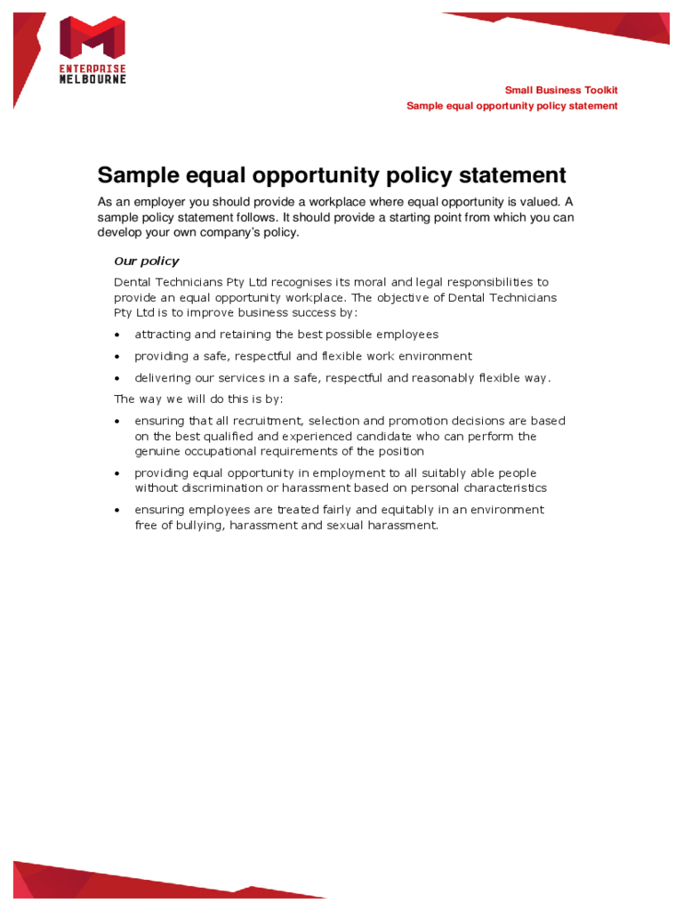 Sample Equal Opportunity Policy Statement