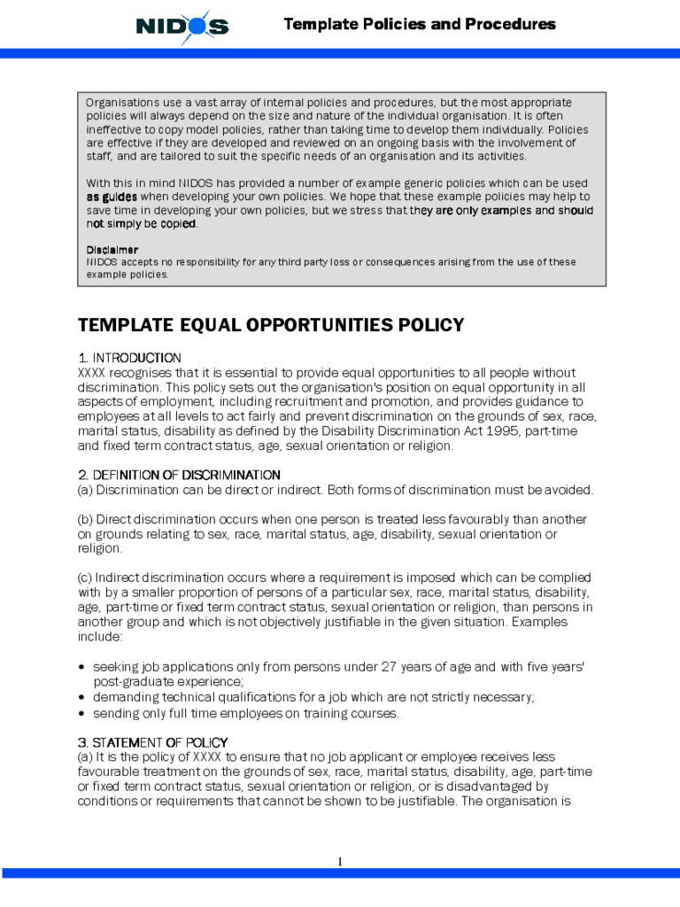 Equal Opportunities Policy Sample