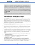 Equal Opportunities Policy Sample Free Download