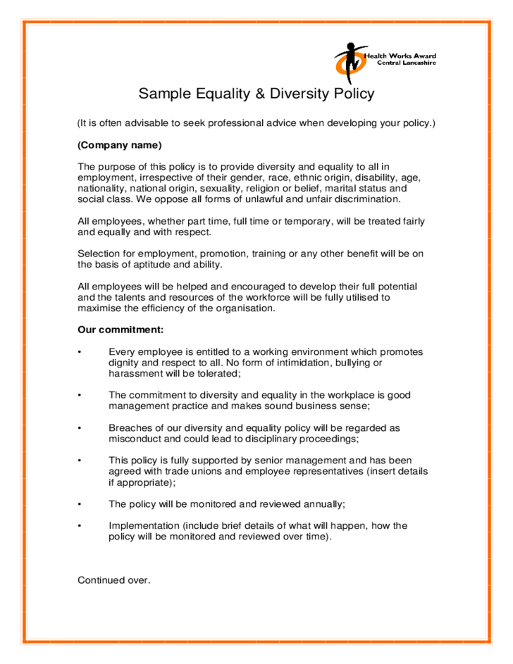 diversity policy template sample equality diversity policy free download